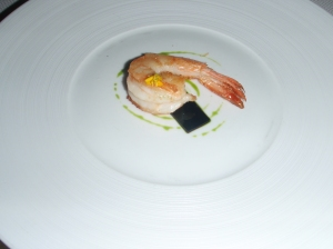 Prawn with green jelly
