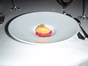 Mango Sorbet with Strawberry crushed ice